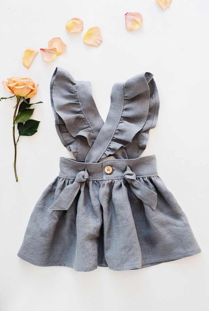 Mocha Linen Frilled Dress