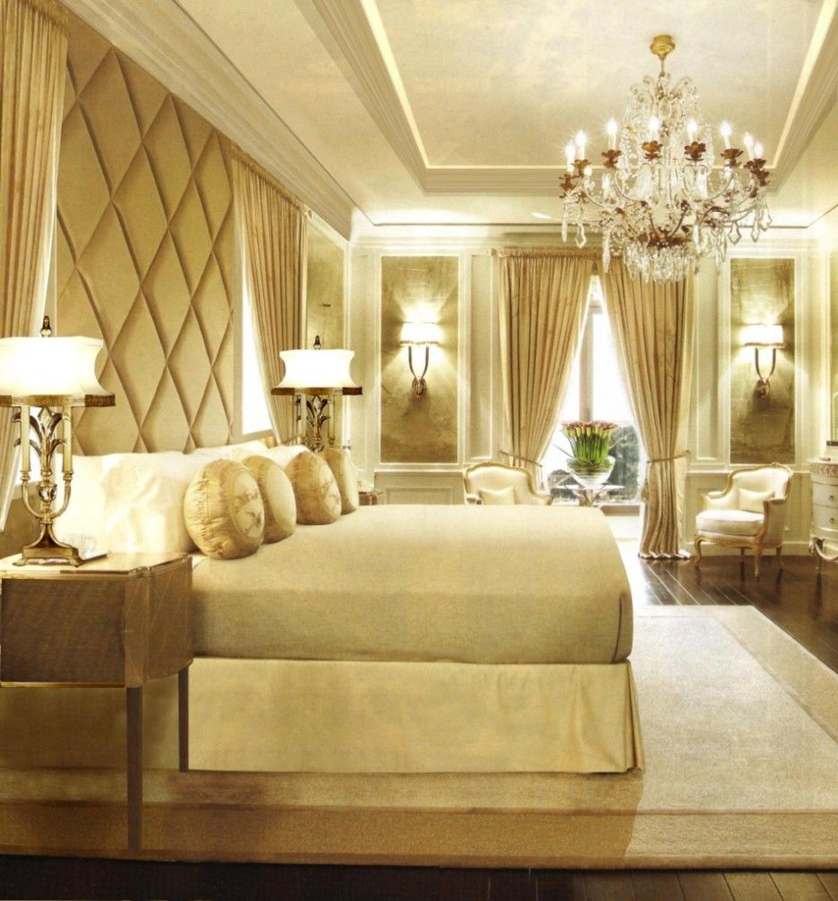 Bedroom: Creative Gold Cream Bedroom Decoration Using White LED