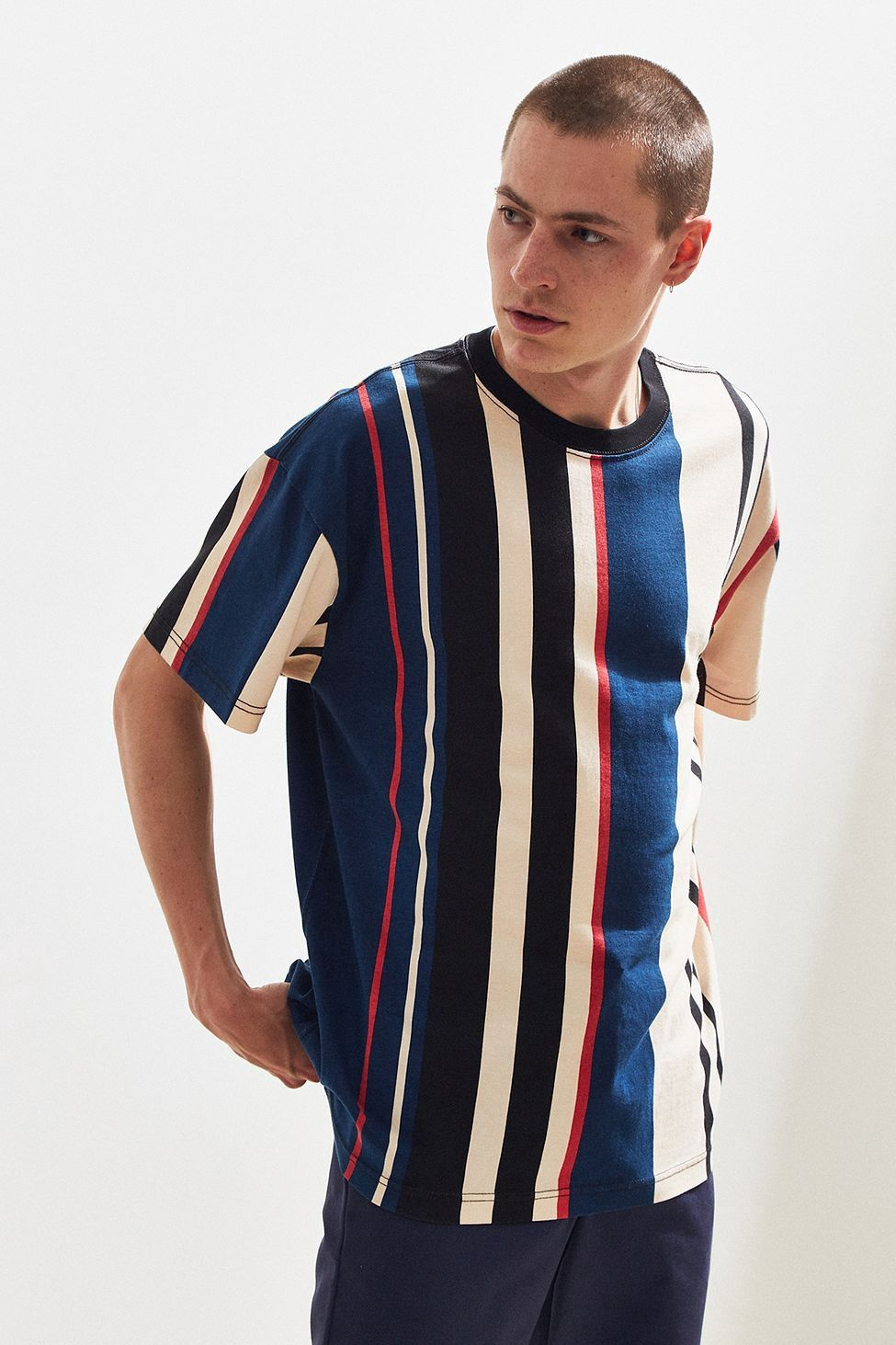 63a56057 Urban Outfitters Uo Wide Vertical Stripe Dad Tee - Yellow Multi Xl ...