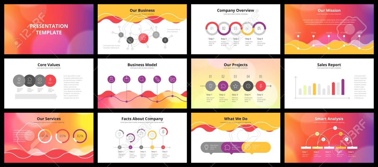 Business Presentation Templates Vector Infographic Elements For Company Presentati Business Presentation Templates Company Presentation Presentation Templates