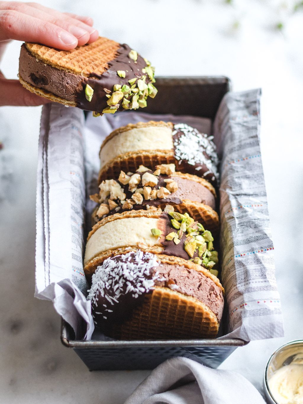 Ice Cream Waffle Sandwiches recipe by The Rainbow Eatery by Denise | The Feedfeed