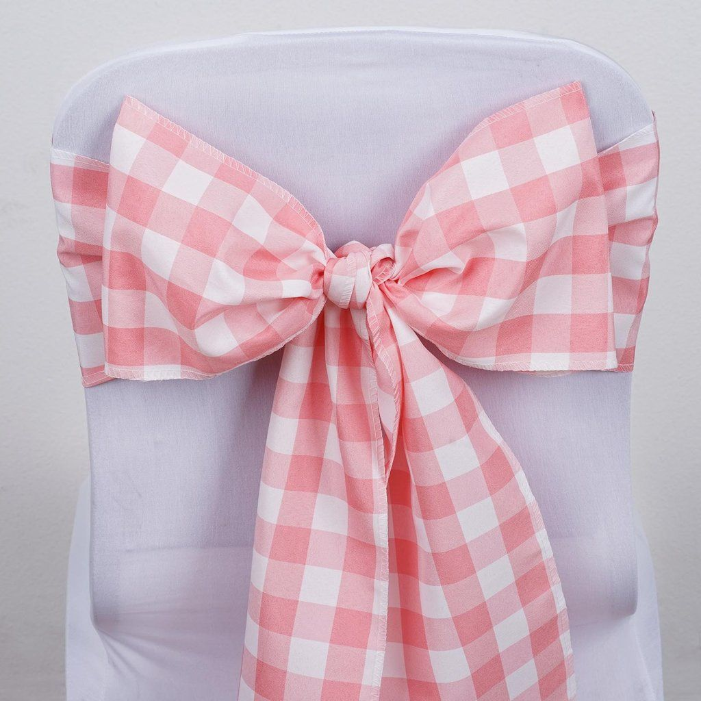 Gingham Chair Sashes 5 Pcs Rose Quartz White Buffalo Plaid Checkered Polyester Chair Sashes In 2020 Chair Sashes Gingham Decorations Gingham Party
