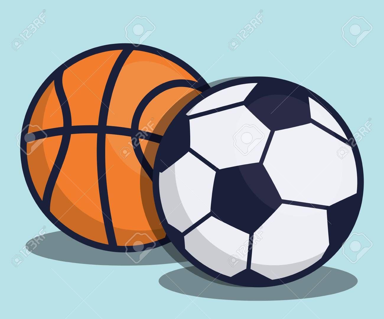 Soccer And Basketball Balls Icon Over Background Vector Illustration Aff Balls Basketball Soccer Icon Illustration