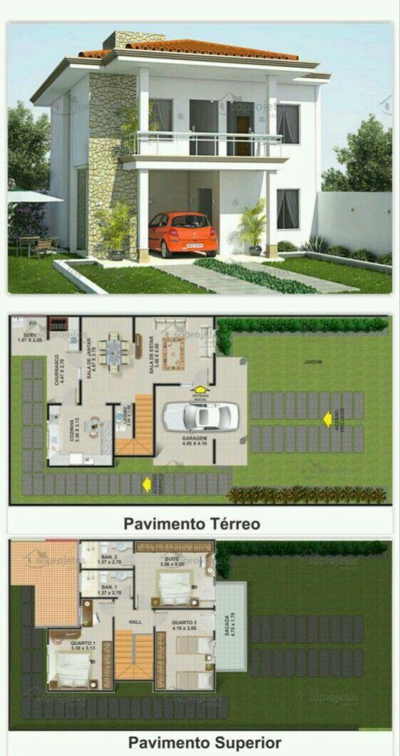 Pinterest: @claudiagabg | Townhouse 3 Cuartos · Plans MaisonPlan ...