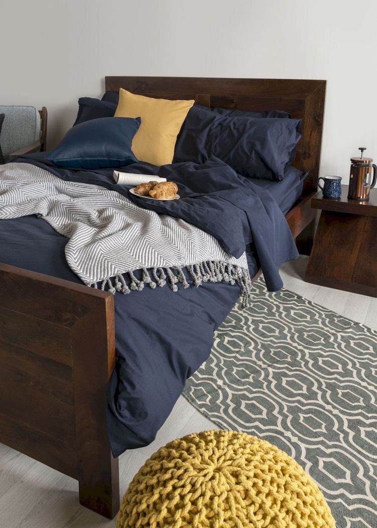 Bedroom navy yellow grey  Yellow bedroom decor, Blue bed sheets