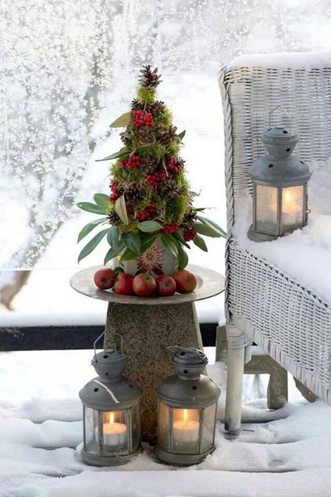 Christmas Topiary Ideas Part - 25: Pine Cones, Moss, Apples - I Love This Mini Christmas Topiary