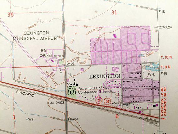 Antique Lexington Nebraska 1962 Us Geological Survey Topographic