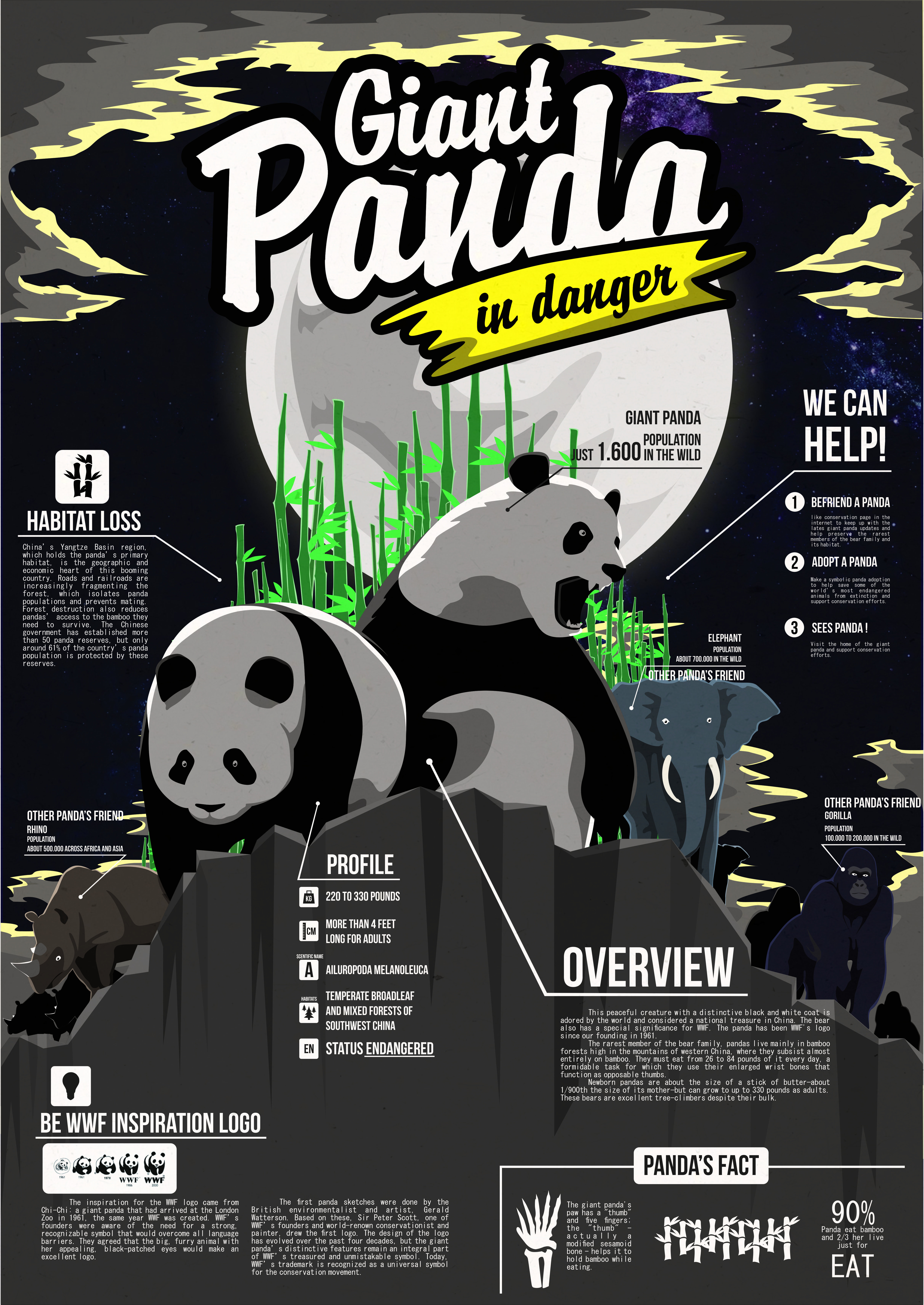 Infographic about endangered Giant Panda Endangered