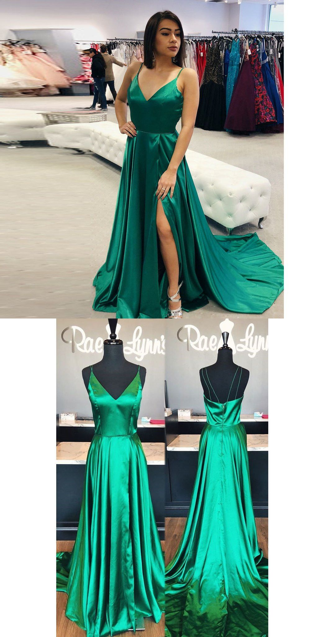 Vneck green prom dress clothing pinterest prom formal gowns