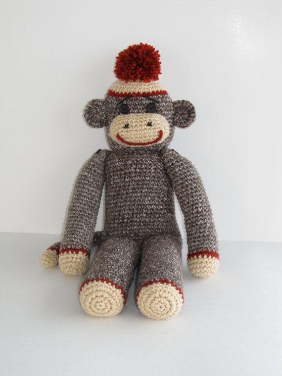 Classic Crochet Sock Monkey Doll / Photo Prop 23 by BriabbyHats ...
