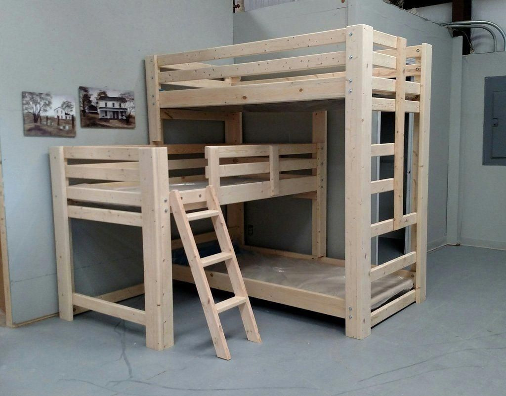 Loft bed with desk full size mattress  Sydney LShaped Custom Triple Bunk Bed udtriplebunkbedsdiyud  Triple