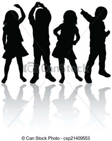 Dancing Children Clipart Vector And Illustration 3 831 Dancing Children Clip Art Vector Eps Images Available Kids Silhouette Silhouette Art Silhouette Drawing