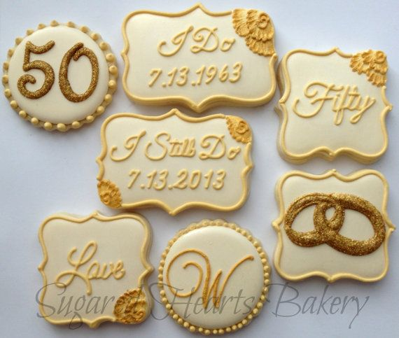 2 Dozen 50th Golden Wedding Anniversary Cookies Via Etsy Com