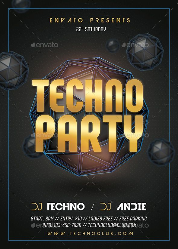 Techno Party Flyer Template PSD - Customizable Text \u2022 Easy to