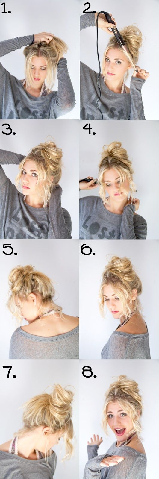 Hair tutorial messy bun fun hairstyle blonde hair pinterest