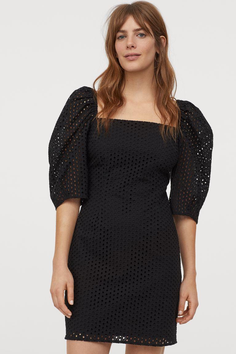eyelet embroidery dress - black - ladies | h&m ca | high