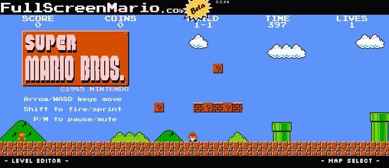 Juego Mario Bros online, Full Screen Mario / Ahora se puede jugar Mario Bros online, en HTML5
