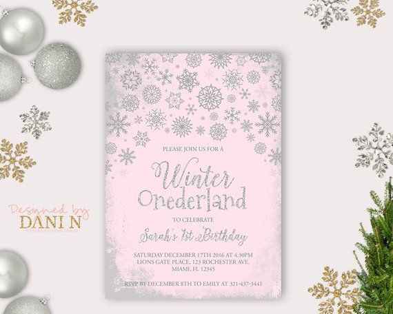 silver pink winter onederland invitation winter birthday