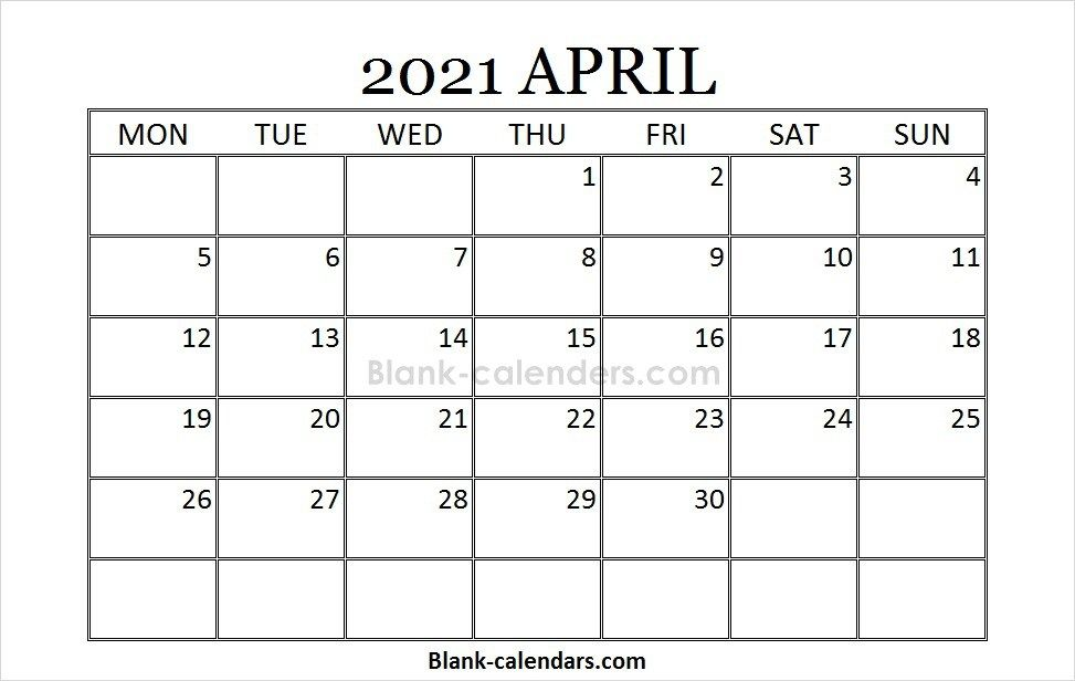 Blank Printable April Calendar 2021 2021 Calendar Pinterest