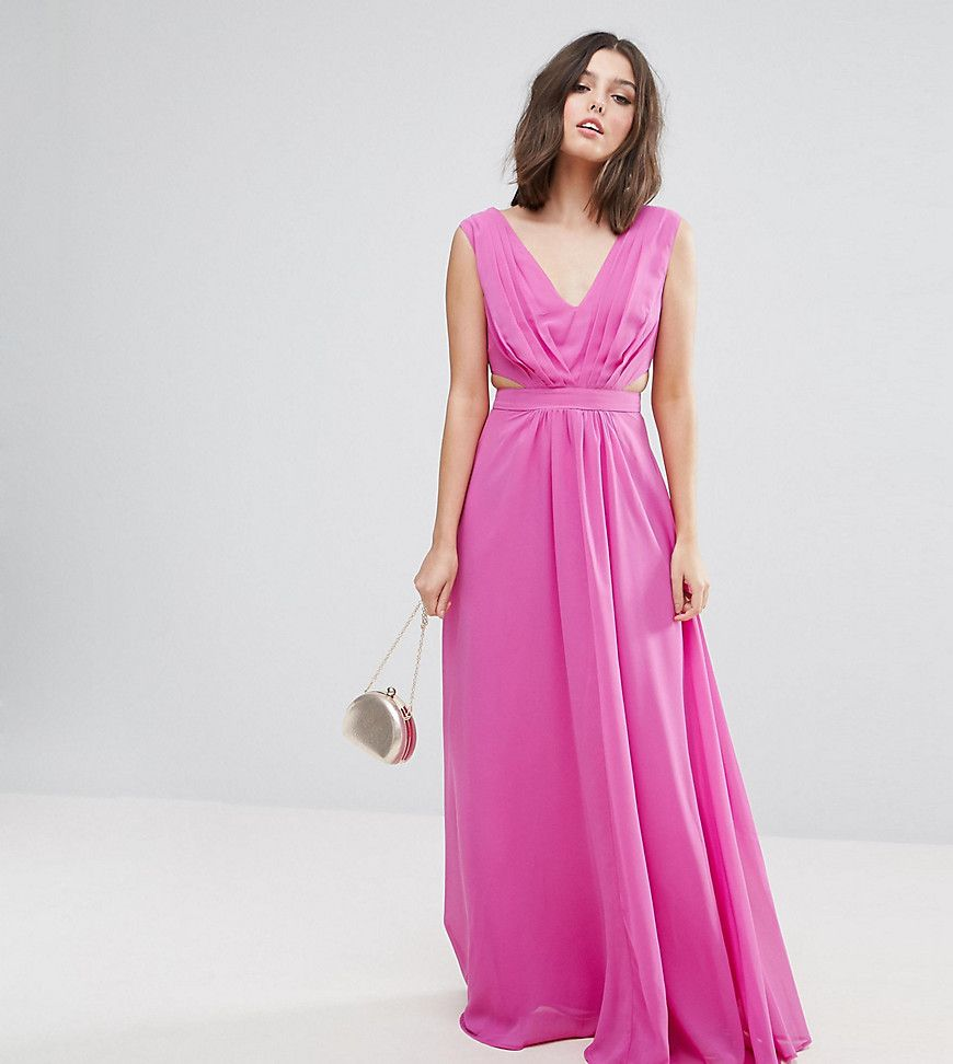 Asos petite side cut out maxi dress pink products pinterest