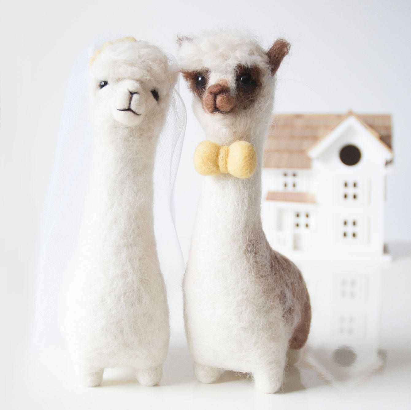 Alpaca needle felted wedding cake toppers large etsy in