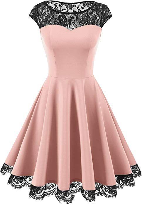 HomRain Damen 1950er Elegant Spitzenkleid Rundhals Knielang festlich Cocktail Abendkleid Pink M #cocktailpartydresses