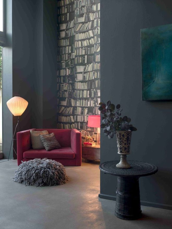 un gris profond sur les murs pour r chauffer le salon ripolin peinture attitude gris bitume. Black Bedroom Furniture Sets. Home Design Ideas