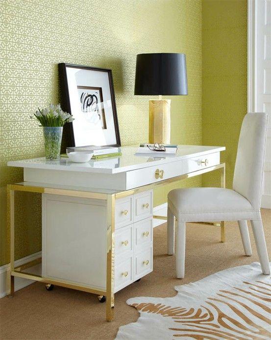 Gold White Desk Lamp Animal Rug Medallion Wallpaper Office Chic Decor Furniture