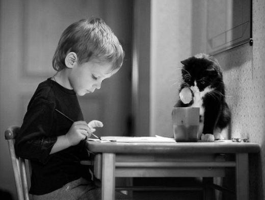 Черно-белые фото детей с животными | Фото в монохроме ...