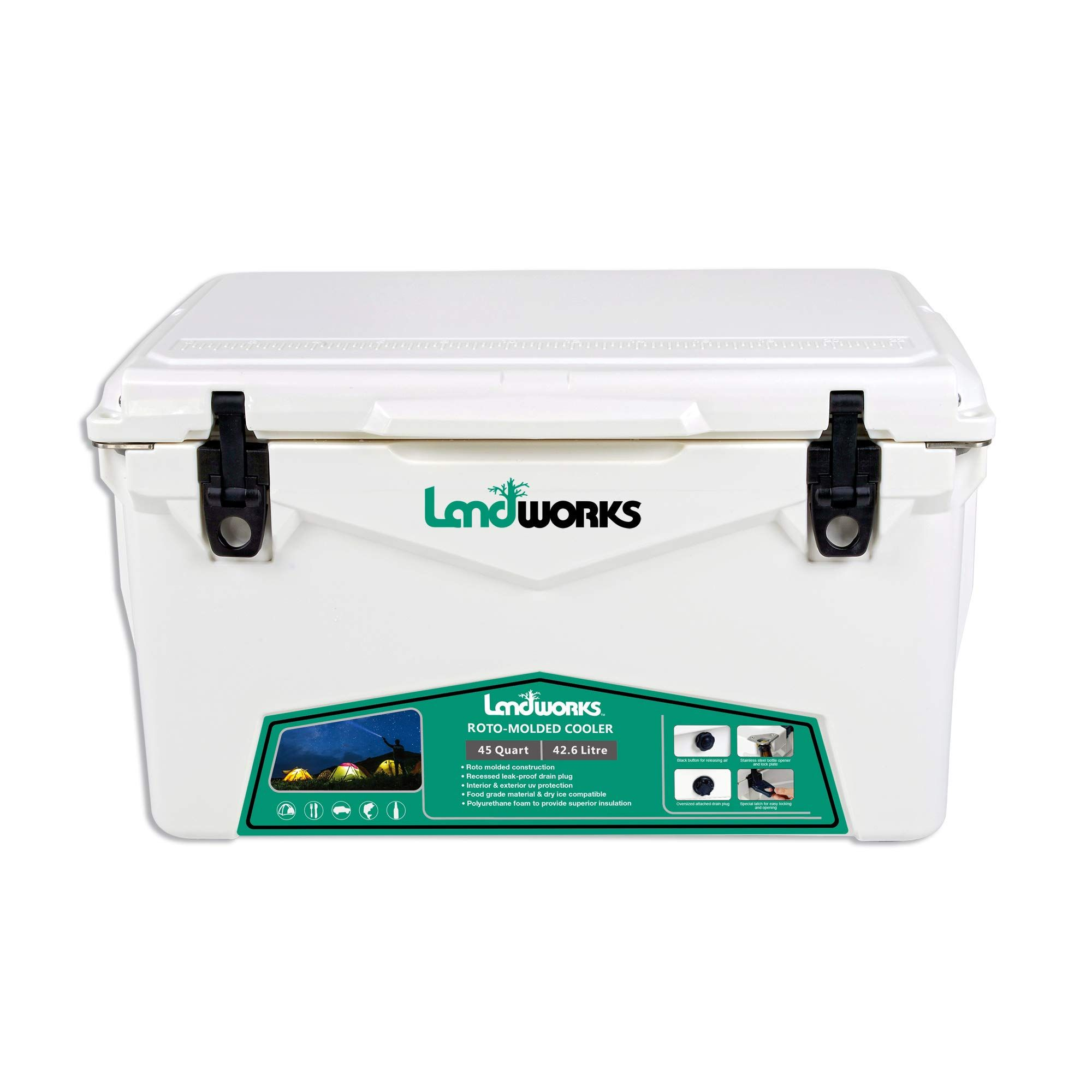 Landworks Rotomolded Enhanced Ice Cooler 45qt 510 Day Ice Retention Commercial Grade Food Safe Dry Ice Compatible Uv Pro Camping Hiking Ice Cooler Dry Ice