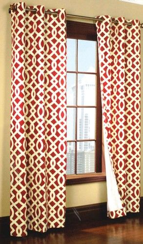 Charming Curtain U0026 Bath Outlet   Trellis Thermalogic Grommet Curtain Red For The  Poker Room: Ties In The Vintage Casablanca Poster With That Trellis Print. Part 15