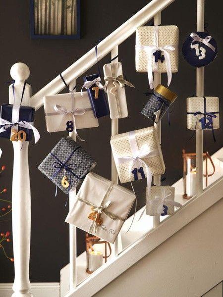 Adventskalender: 15 Ideen zum Selbermachen #feiertageundanlässe Adventskalender: Päckchen an der Treppe :) #adventskalenderbasteln