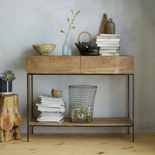 Rustic Storage Console Cafe West Elm Rustic Storage Rustic Consoles Redecorate Living Room