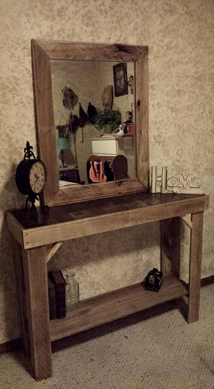 Pallet Entryway Table With Mirror Wooden Pallet