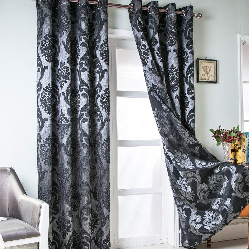 Napearl European Style Jacquard Semiblackout Grommet Top Window Curtain Panel Set Of 2 Panels Black 52 Wx84 L Details Window Curtains Curtains Panel Curtains