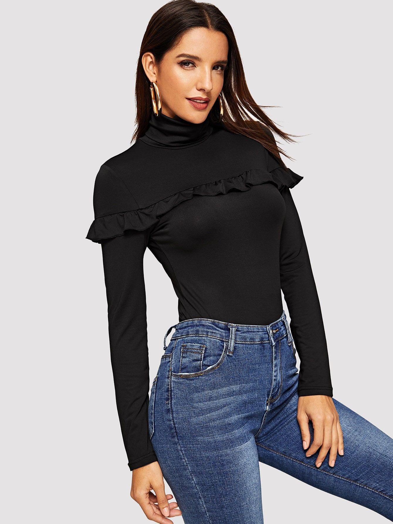 3dcd22c9895 Elegant Ruffle Plain Regular Fit High Neck Long Sleeve Black Regular Length  Turtleneck Ruffle Form Fitted Tee