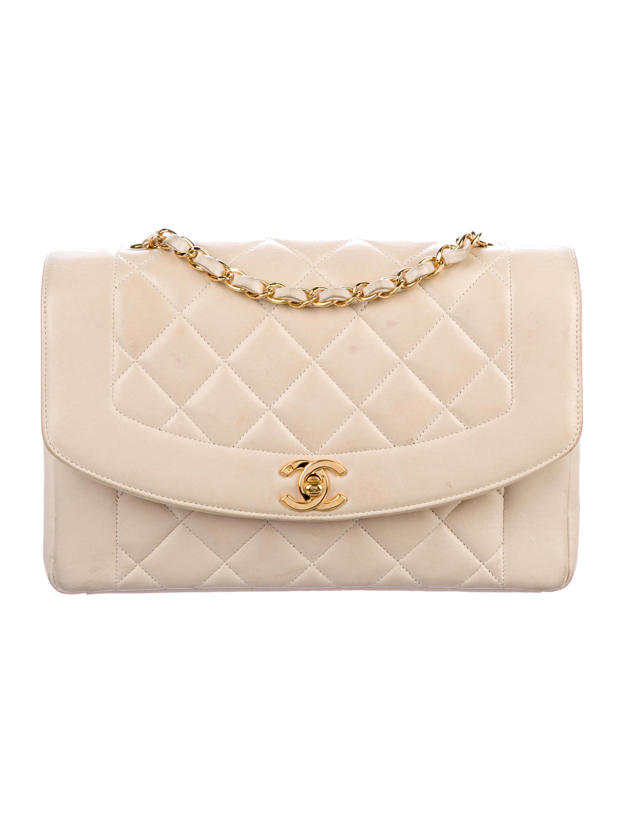 5e26df031e3555 Beige quilted Caviar leather vintage Chanel Medium Diana Flap bag with gold-tone  hardware,