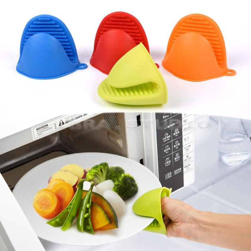 1 pc Silicone Pot Holder Oven Mini Mitt Cooking Pinch Grips Heat Resistant