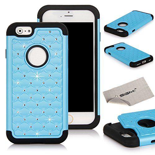 "iPhone 6 4.7 Case, SGM (TM) Hybrid Gel Rhinestone Bling Armor Defender Case for Apple iPhone 6 (4.7"") (2014) (Light Blue + Black) SGM http://www.amazon.com/dp/B00MM0KRVI/ref=cm_sw_r_pi_dp_9-Aqub1FACZA3"