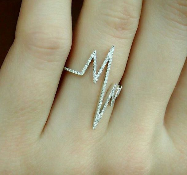 90ce4dd999d45 Solid Cocktail Party Ring 925 Sterling silver Heart lifeline Cz ...