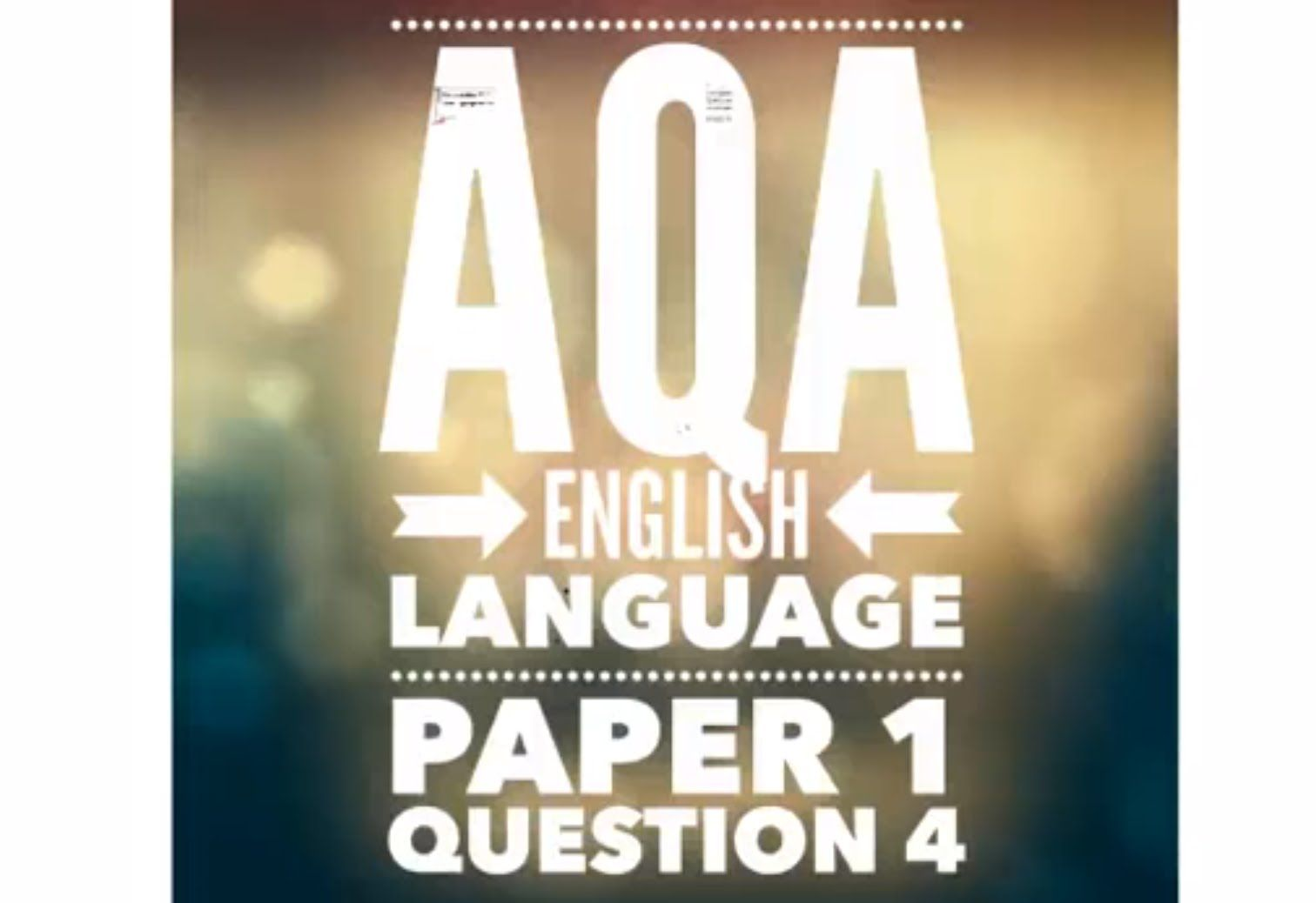 Aqa Gcse English Language Paper 1 Question 4 Exam