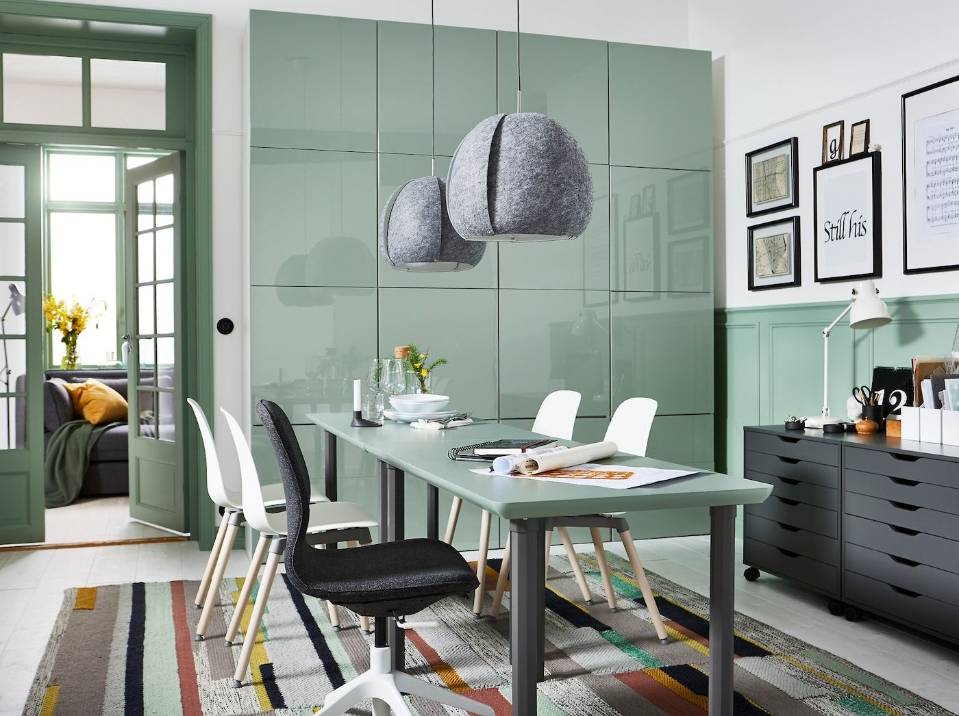Emails by day, dinner date by night Gray home offices