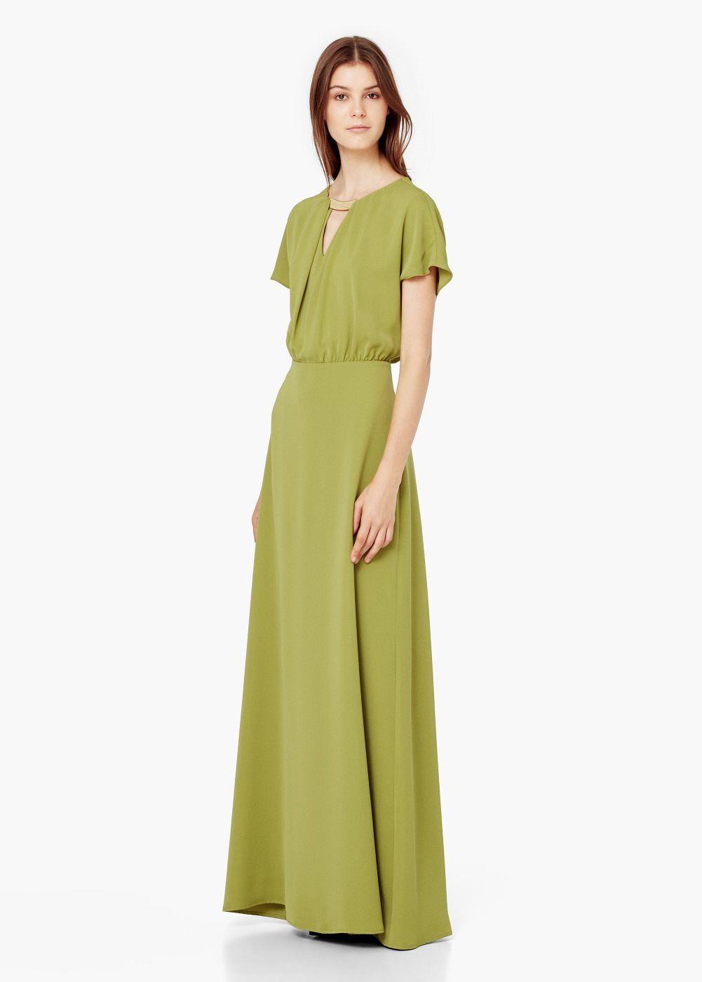 Langes kleid mit metallapplikation - Kleider für Damen | MANGO ...