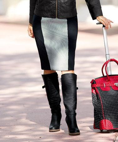 Another great find on #zulily! Black & Gray Color Block Pencil Skirt - Women & Plus by Monroe & Main #zulilyfinds