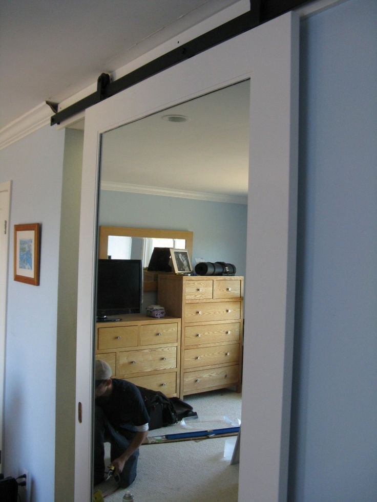 Sliding Barn Door Mirror Mirrored Barn Door For Master