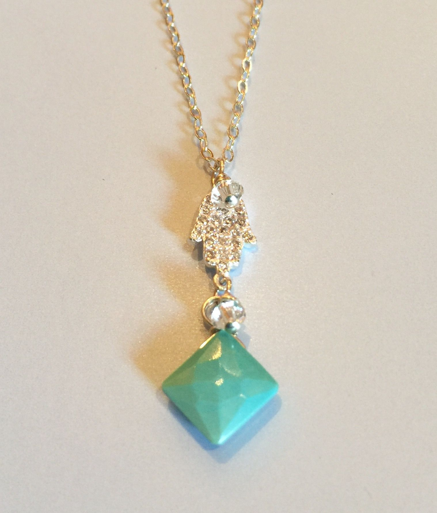 Sweet, pretty, Sleeping Beauty Turquoise Hans Necklace