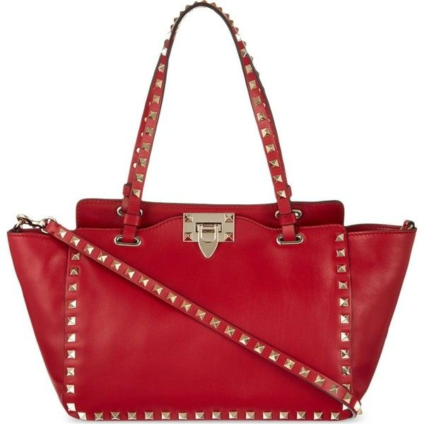 VALENTINO Studded tote bag (44 595 UAH) ❤ liked on Polyvore featuring bags, handbags, tote bags, red valentino, studded purse, red tote, red leather handbag, valentino tote and studded leather tote