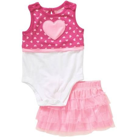 5f5a97cbf Garanimals Newborn Baby Girl Twofer Tank Bodysuit and Tiered Skort Outfit  Set - Walmart.com