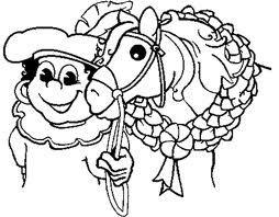 kleurplaat zwarte piet met het paard sinterklaas