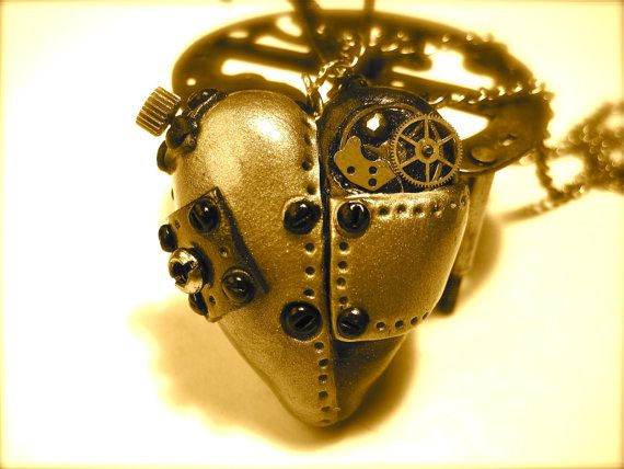 Steampunk Polymer Clay Heart Valve Pendant